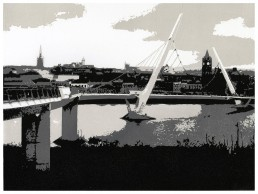 Derry Peace Bridge, Lino Cut, Matthew Braithwaite
