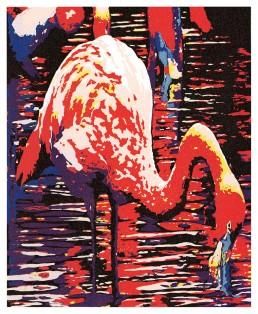 Flamingo Lino Cut Print, Matthew Braithwaite