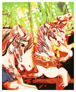 Merry Go Round, Lino Cut Print, Matthew Braithwaite