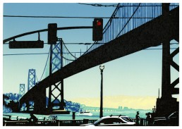 The Bay Bridge, San Francisico, Lino Cut Print, Matthew Braithwaite Prints